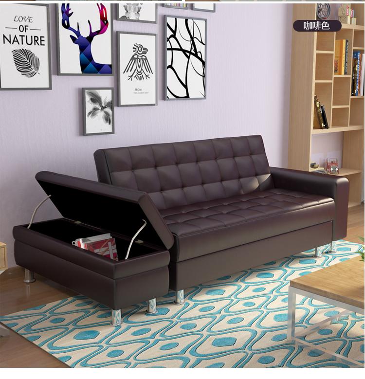 多機能の折りたたみ皮芸ソファーベッド収納によるデュオリビングソファ布製の小型ソファベッド