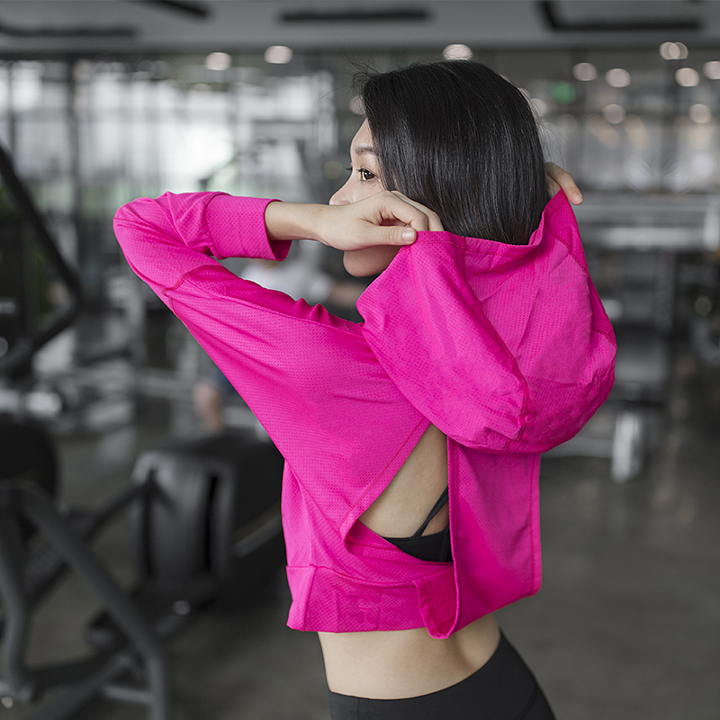 Quick dry running loose coat female Hooded Sweater blouse openwork sportswear jacket head long sleeved sportswear