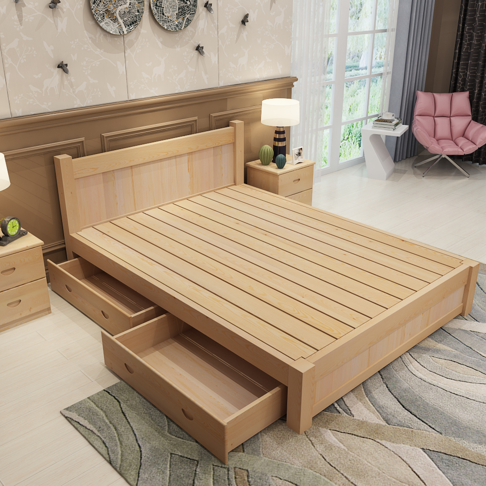 Nordic Japanese solid wood bed, 1.51.8 meter master bedroom, adult marriage bed, double oak log furniture