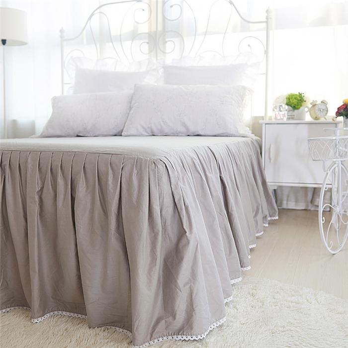Cotton lace Miss series Tencel cotton four set cotton bed skirt blue gray Floral