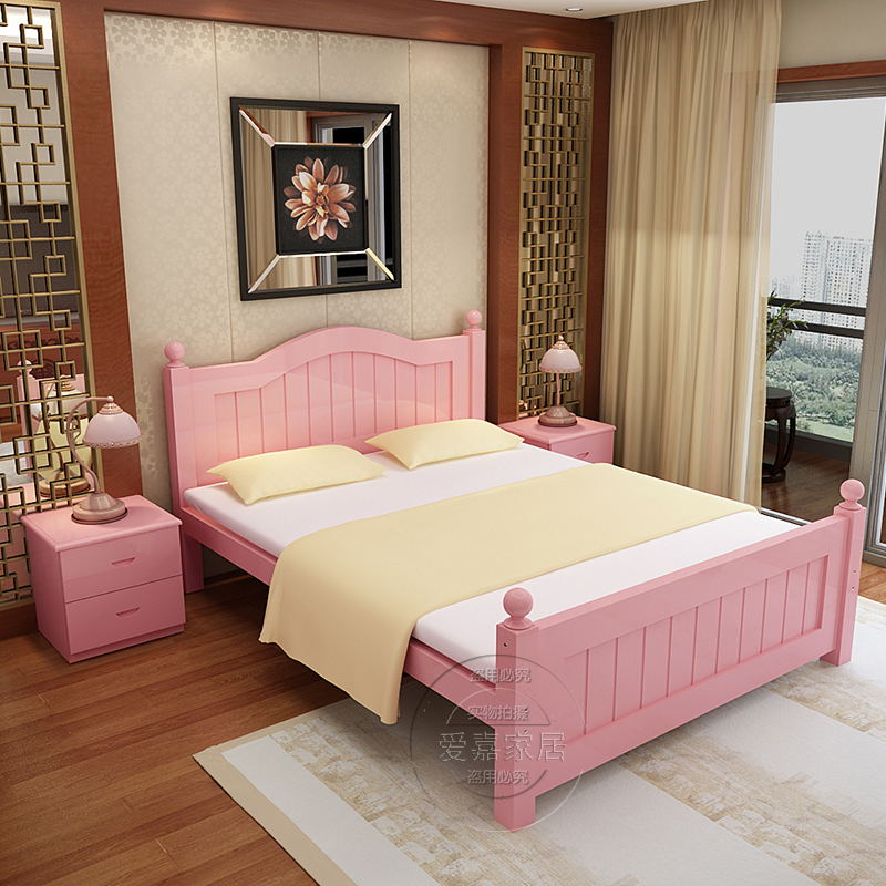European style double bed solid wood bed Zhuwo 1.8 meters 1.5 meters double bed bed French Carved tatami bed