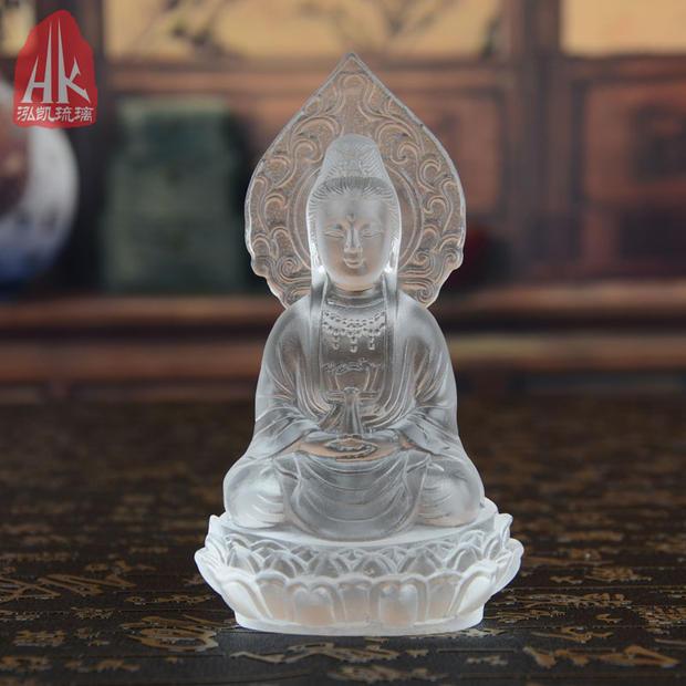 觀音-琥珀色觀音菩薩佛像擺件琉璃工藝品居家書房客廳佛堂供養擺設裝飾禮品
