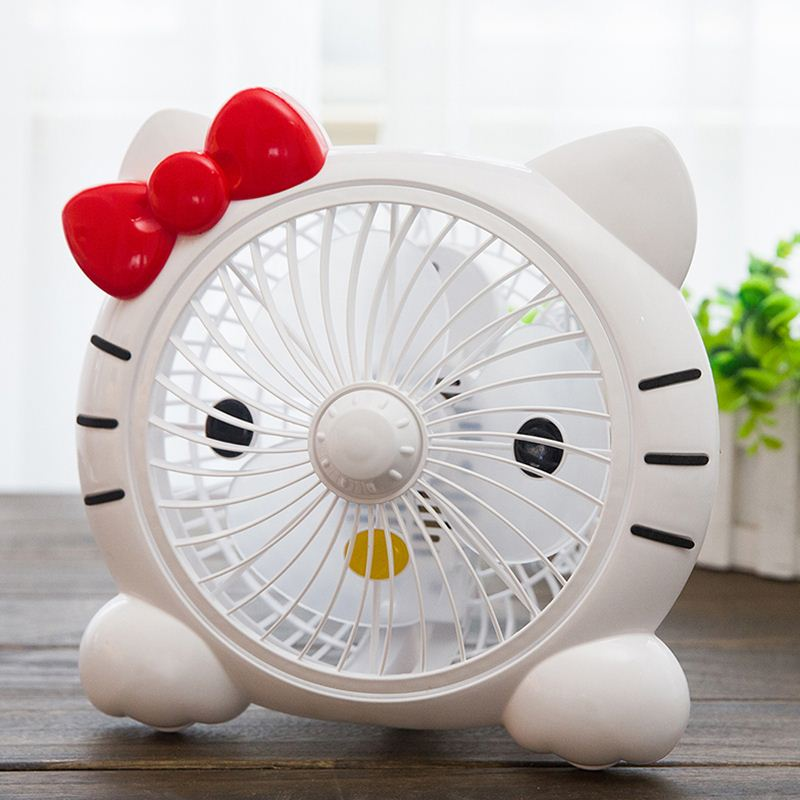 Small electric fan, mini cartoon, big white desk type plug in 10 inch dormitory office bed