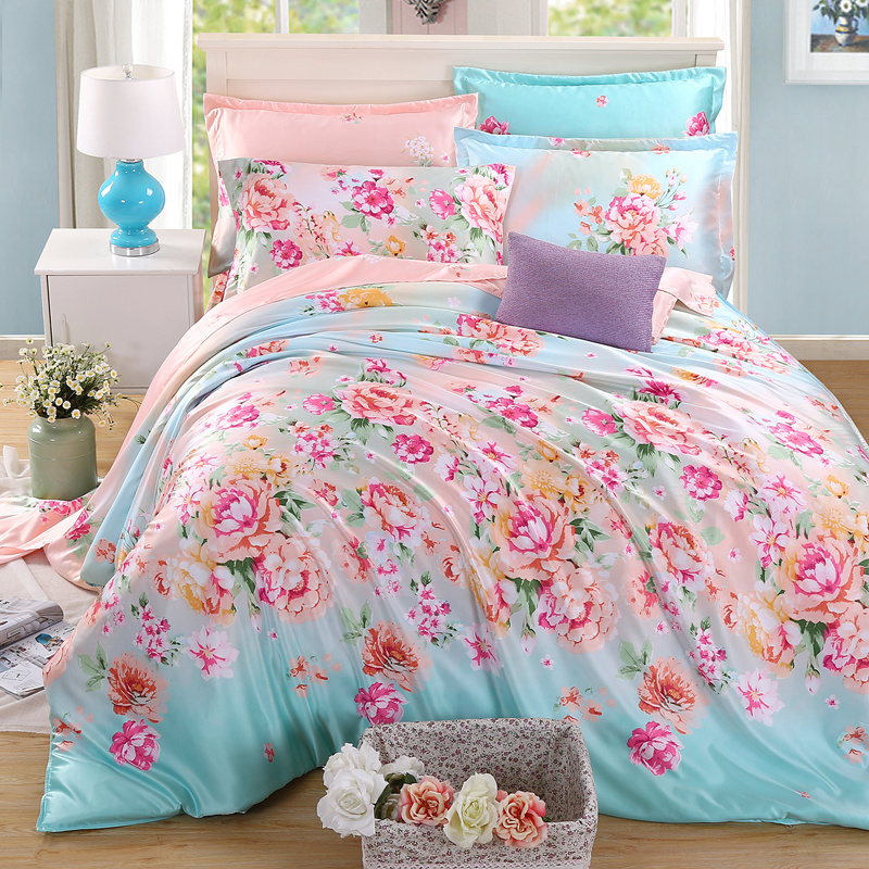 Spring and summer four piece silk satin silk four piece silk quilt bedding sheets 1.8M