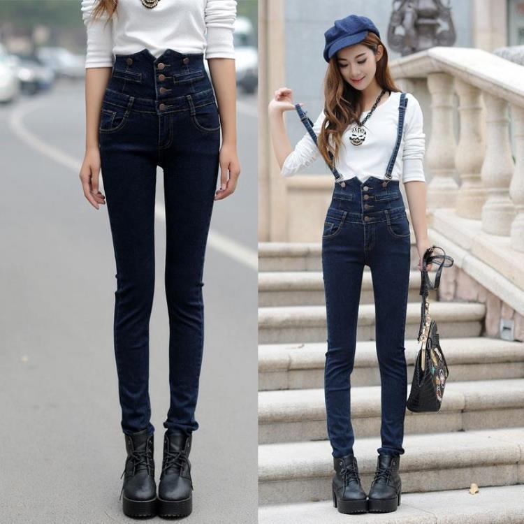 秋春款可拆卸两穿背带裤女高腰牛仔长裤韩版修身显瘦弹力小脚裤子