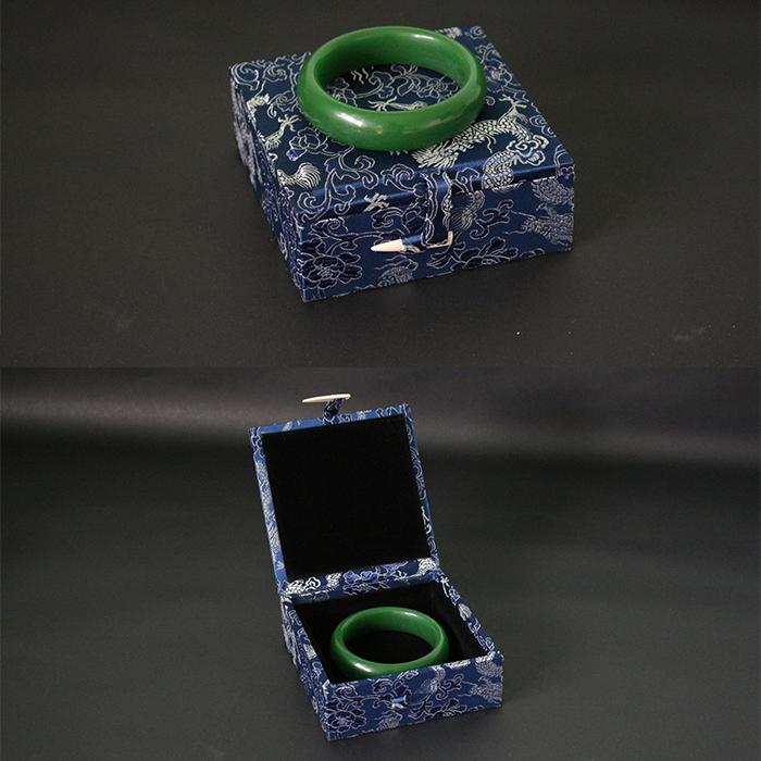 藍色龍紋錦盒定做手鐲手串佛珠玉佩收納盒高檔木質108手串收藏盒小擺件盒