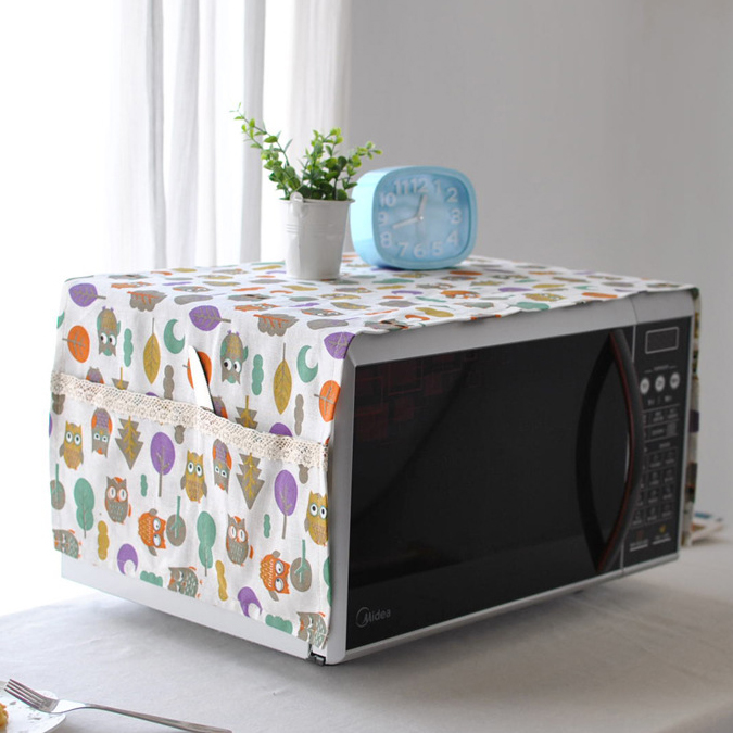 Microwave oven cover dust-proof oil with beautiful cloth cover towels Glanz microwave oven dust cover