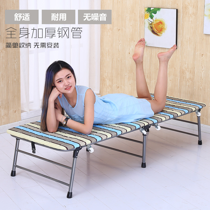 Folding bed, single lunch bed, wood board type adult portable hidden bed, domestic 65CM simple bed