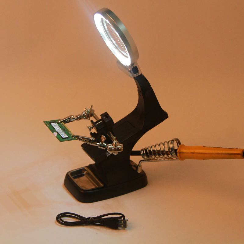Veces HD alta Mesa multifuncional plegable con soporte de mantenimiento masatoilde con pinzas lupa lámpara USB