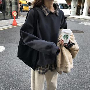 韩版学院风宽松复古格子拼接假两件卫衣女秋冬新款后背印花上衣潮