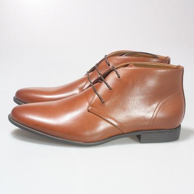外贸尾单 浅棕色英伦休闲高帮皮鞋男 时尚男士正装高帮