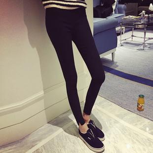 外穿九分打底裤春秋款女士薄款黑色小脚铅笔裤高腰弹力显瘦长裤子