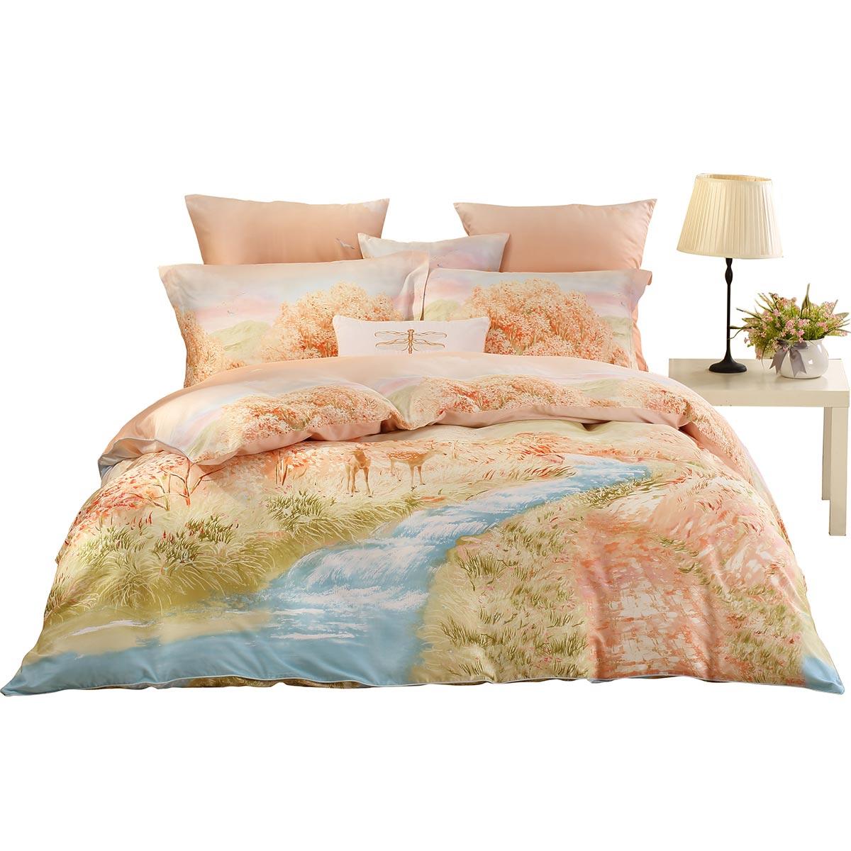 Mercury textile cotton Tencel four piece pastoral winter sanding thick warm double 1.8 meters 4 sets