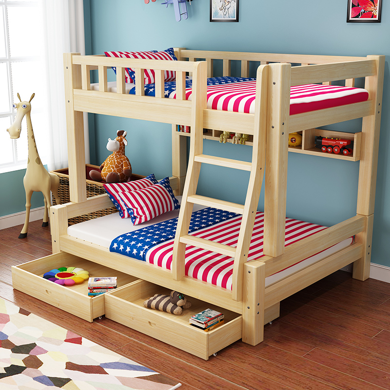 All solid wood bunk bed bed children Matsuki Ko mother mother bed double bed bed bed adult height bed