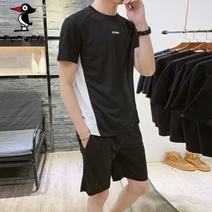 Plover 短袖T恤男装套装 夏装新款韩版时尚休闲两件套装 时尚短裤