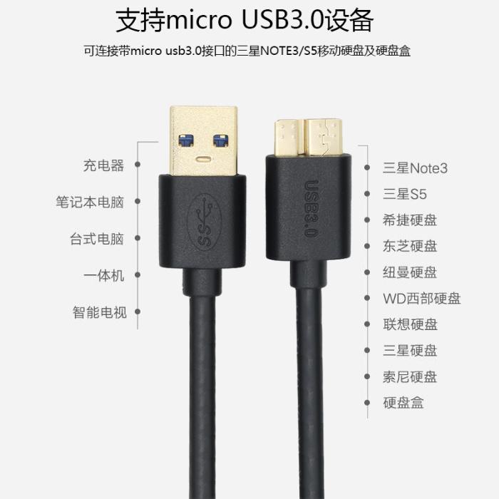 Des données de ligne de charge NOTE3S5 samsung mobile dans l'ouest de la ligne de données d'un disque dur seagate Toshiba de connexion USB 3.0