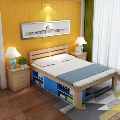 Special simple pine bed, pure solid wood mail, 1.5 meters double bed, one meter, two single bed, simple 1 meters bed for children