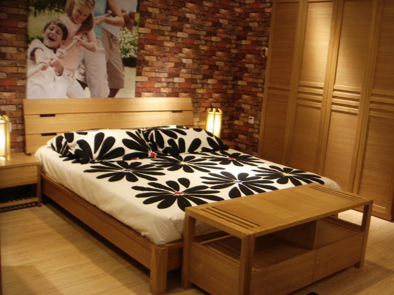 Shanghai Nordic solid wood ash bedroom furniture, solid wood bed double bed 1.8 bed