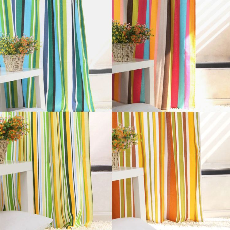 Colorful stripe Mediterranean canvas curtains custom bedroom dressing room curtain half shade wholesale