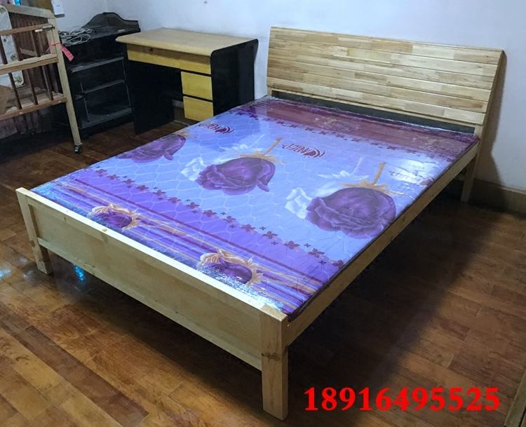 Solid wood bed, pine shelf bed, single bed double bed, Shanghai package can be customized
