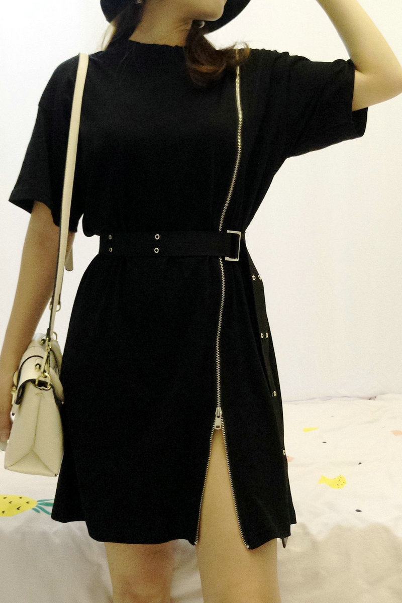 FM 가득한 중 롱 반팔 티셔츠 여자 여름 배기 포인트 2014 신형 검은색 지퍼 티셔츠 원피스
