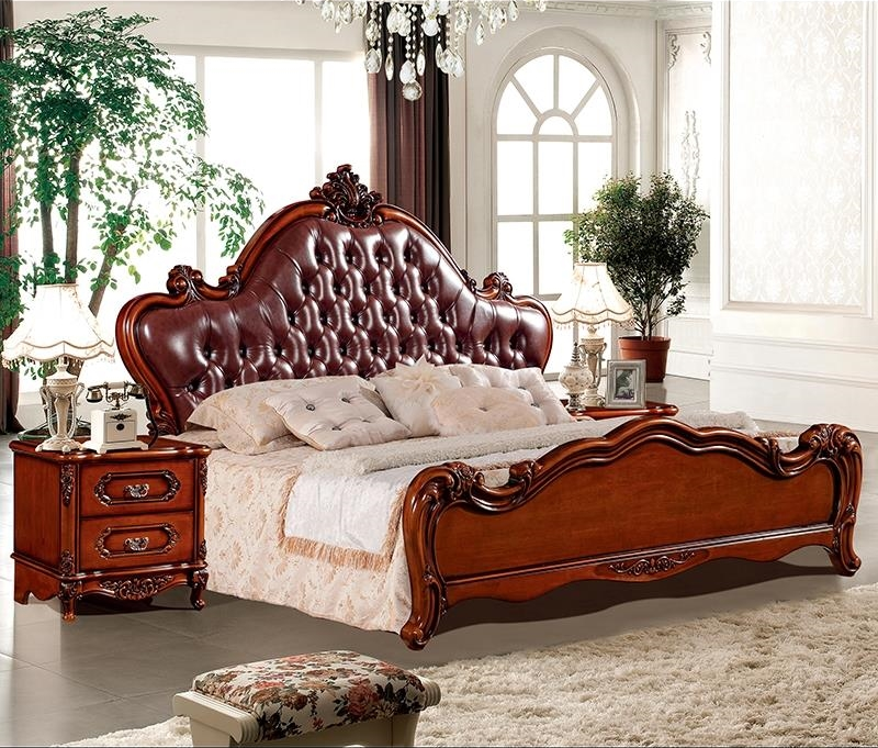 European style retro solid oak oak bed, dark European style 1.8 high box master, double carved wedding bed, leather bed