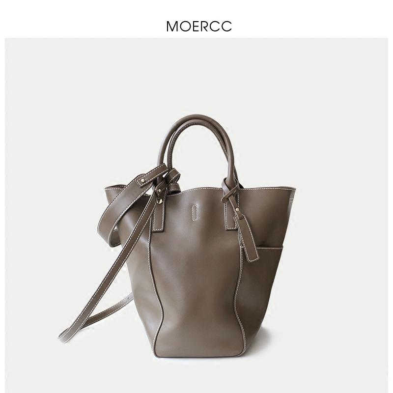 卡其moercc休閑手提大包包斜挎女包簡約水桶包牛皮子母包時尚單肩包