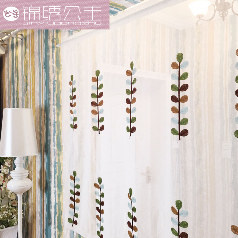 Air curtain embroidery Limited special offer cotton short curtain curtains and light white gauze curtain floating bedroom living room