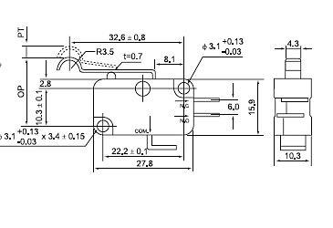 Chang grand courant par le grand large de pieds de micro - commutateur CMV-106C 10a de commutateurs de limite de contact en argent