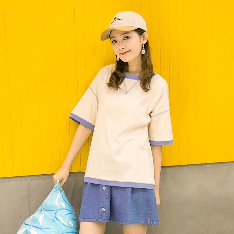 Áo T-shirt/Áo phông nữ cổ tròn cộc tay tay lỡ phong cách Hàn Quốc phù hợp cho mùa hè kiểu dáng rộng rãi phong cách học sinh mẫu mới nhất