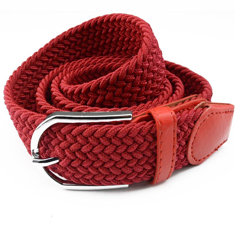 キャンバス編みベルト無孔ストレッチゴムさんバックルベルトシンプルカジュアル百搭紳士の針のベルト
