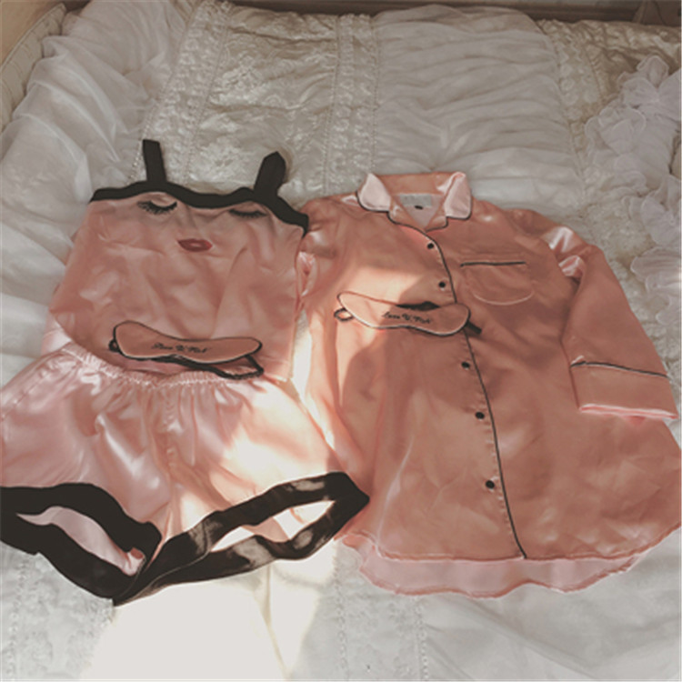 Thailand embroidery red lips curved eyelashes pink shorts suspenders nightwear four piece silk clothing Home Furnishing