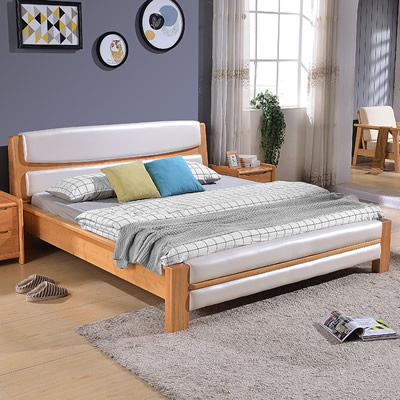 Wuhu Ma'anshan Nordic style bedroom furniture bed 1.8 meters modern wood oak double bed free delivery