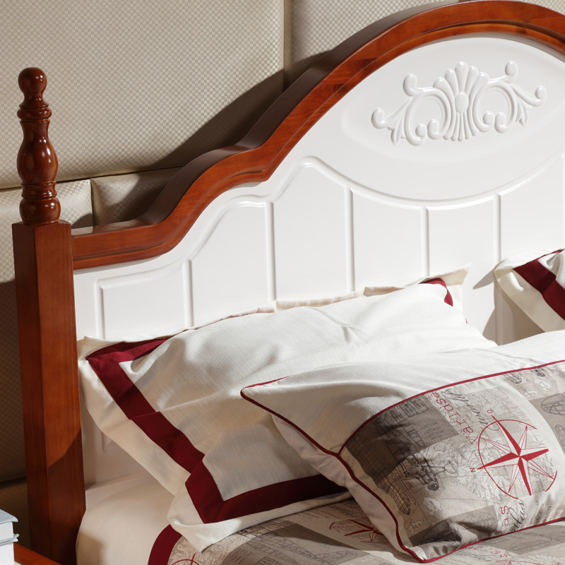 All solid wood bed double 1.8 children single 1.5 meters oak bedside, Mediterranean furniture special white princess bed