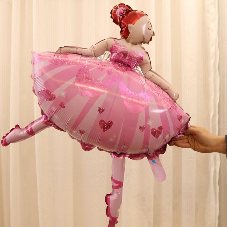芭蕾舞蹈女孩 粉色芭蕾舞蹈女孩兒童生日周歲百天派對裝飾布置聚會房間布置鋁膜氣球