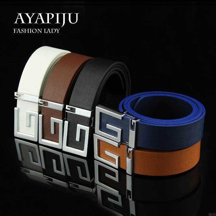 Los hombres de letras de 2017, hebillas de cinturón de cuero suave Pu placas cinturón con hebilla de cinturón e8.