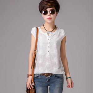 夏裝新款大碼女裝女士T恤 白色短袖純棉拼接棉麻上衣女1055