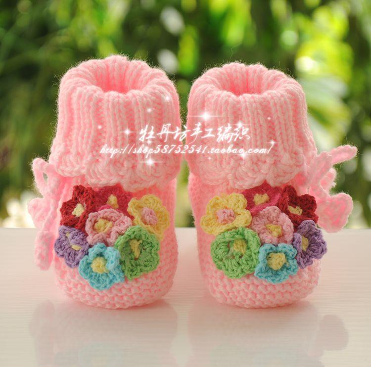 手工編織寶寶軟底鞋嬰兒毛線鞋成品0-1歲粉色花朵公主繫帶不掉