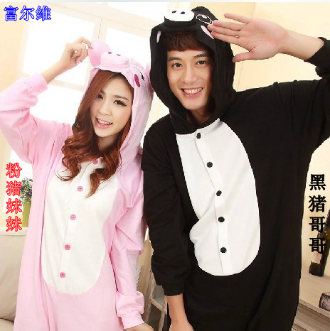 Special offer high-grade animal flannel black pig pink pig cartoon Siamese pajamas in autumn and winter long sleeved men and women love apartment