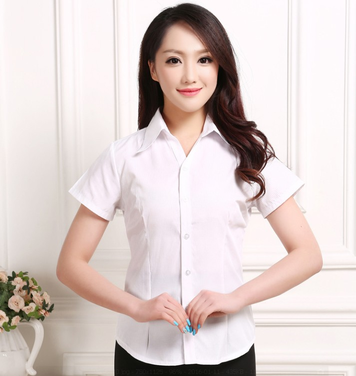 10#白條(短袖)s職業女裝細條紋白襯衫女春夏短袖顯瘦v領工作服大碼正裝工服襯衣
