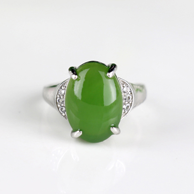 1入和田玉菠菜綠戒指女士戒指