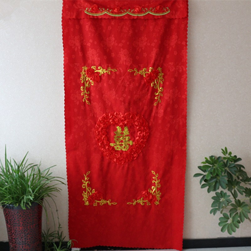 Gelukkig getrouwd zijn rode stof gordijn bruiloft spullen bruid bruidsschat slaapkamer nagato gordijn Feng Shui kamer.