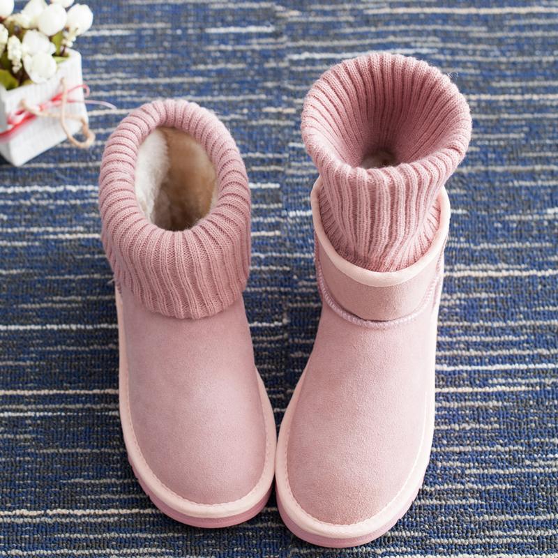 冬季韩版新款毛线口雪地靴子女式短靴真皮加绒平底短筒棉鞋学生潮