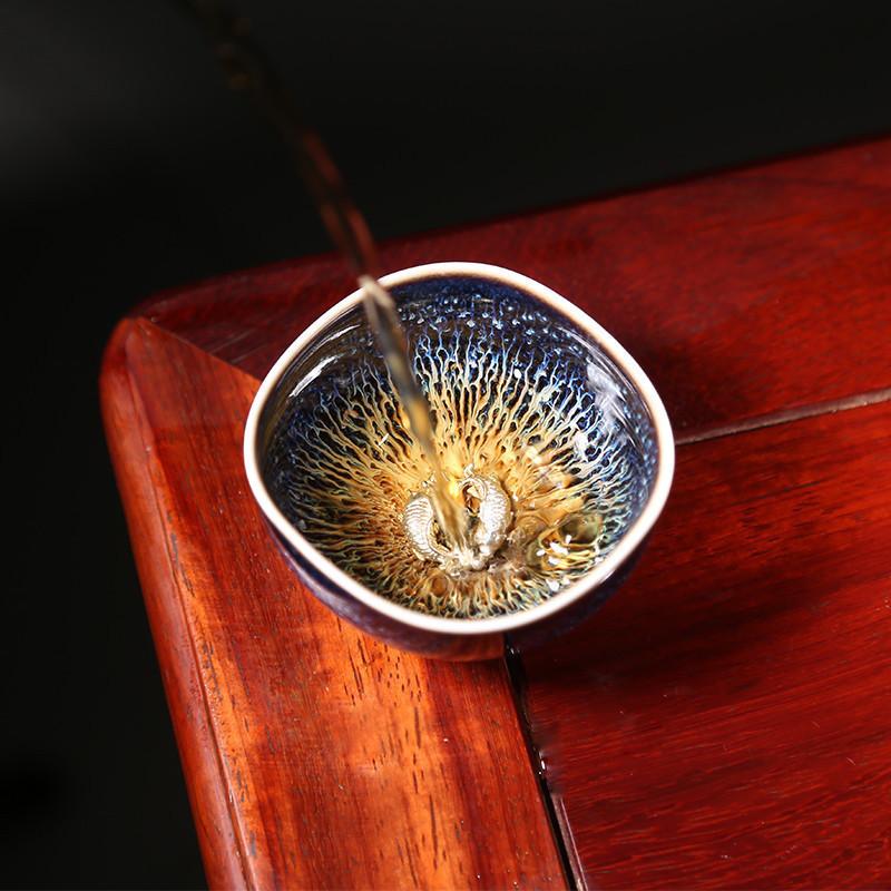 素款1窯變天目釉景德鎮建盞品茗杯功夫茶具陶瓷銀杯子主人杯小茶杯茶碗