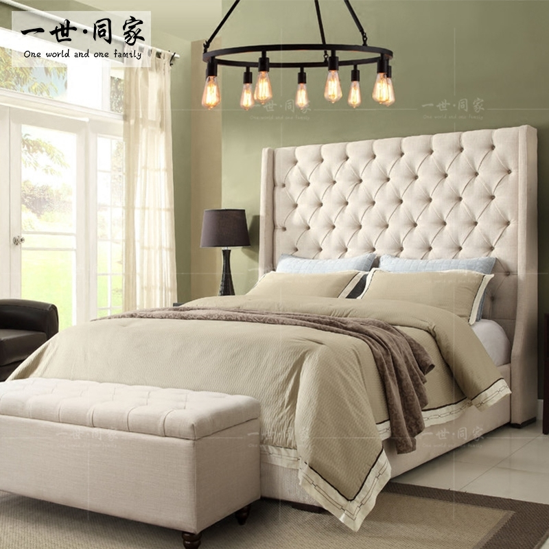 The same fabric bed large-sized apartment wood bed double bed bed roolls simple modern cloth bed