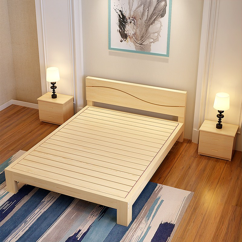 Single bed double bed pine adult bed 1.2 meters 1.5 meters 1.8m simple family bed solid wood bed simple H