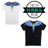 Australian parrot MB primary wings T-Shirt Blue tide brand black and white feather printing of cotton short sleeved men and women