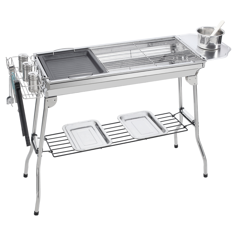 Barbecue stove, outdoor charcoal stove, smokeless outdoor stove set, thickening carbon box household barbecue rack