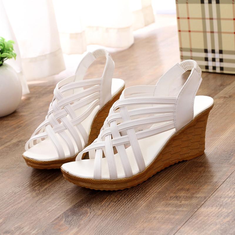 2017韩版夏季新款坡跟鱼嘴鞋罗马凉鞋松糕厚底女休闲鞋高跟鞋女鞋