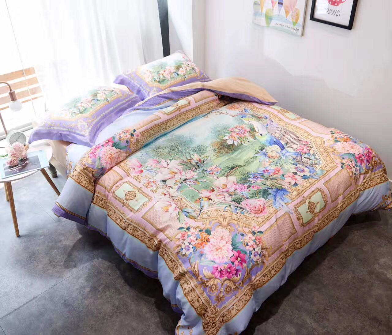 Special shop! Bermo home textile brand sham 80S digital printing four pieces of Tencel minor spring